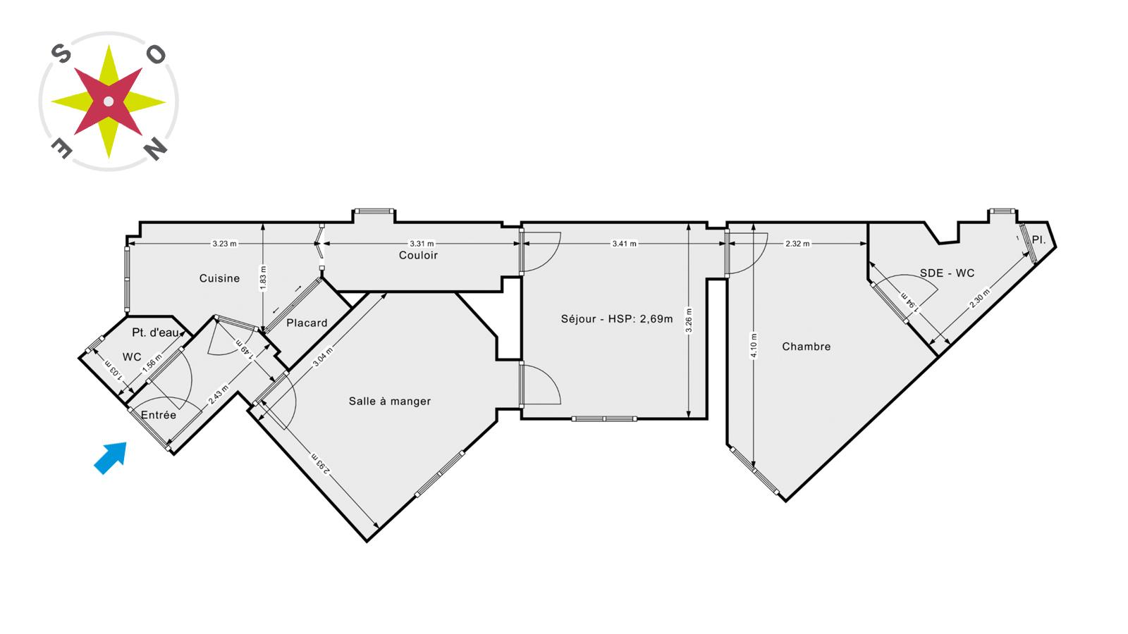 Paris 11 Parmentier Saint-Maur 3 pièces 48 m2 1er étage sur cour 532000€